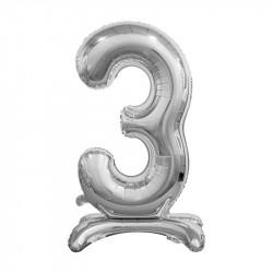 Кулька Цифра 3 на підставці срібна
