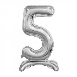 Кулька Цифра 5 на підставці срібна