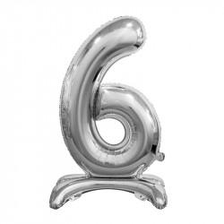 Кулька Цифра 6 на підставці срібна