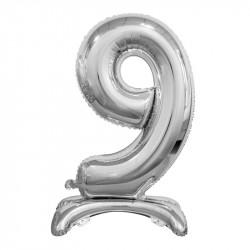 Кулька Цифра 9 на підставці срібна
