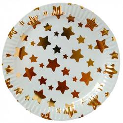 Тарелки Звезды золотые 10шт/уп