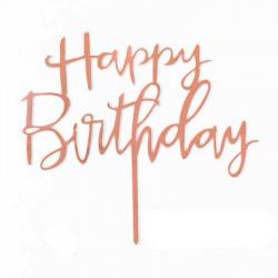 Топер Happy birthday (розовое-золото)