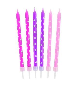 Свечи в горошки для девочки 24шт/уп