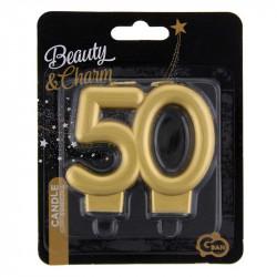 Свічка цифра 50 золото
