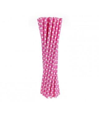 Трубочки для коктейлю рожеві в горох 24шт