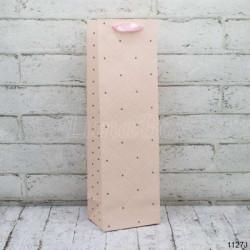 Подарунковий пакет Для пляшки рож.40*12*9см папір,плівка 1127 Гулівер