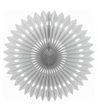 Бумажный веер (фант) серебрянный 40 см