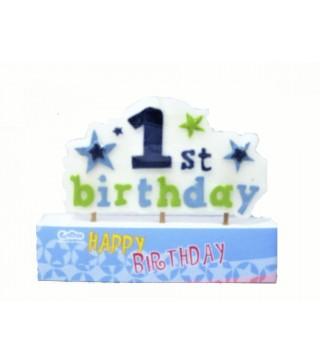 Свічка цифра 1st birthday блакитна
