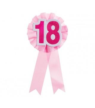 Значок 18 розовый