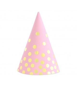 Ковпачок рожевий у золотий горох 6 шт/уп