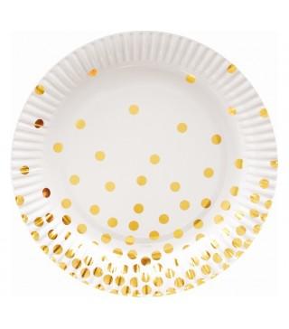 Тарілочки білі в золотий горох 6 шт/уп 18 см