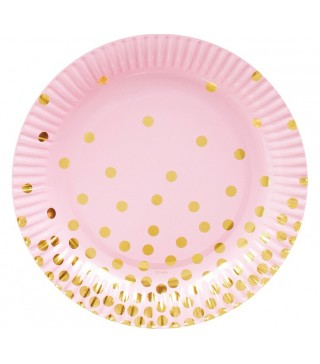 Тарелки розовые в золотой горох 6шт/уп