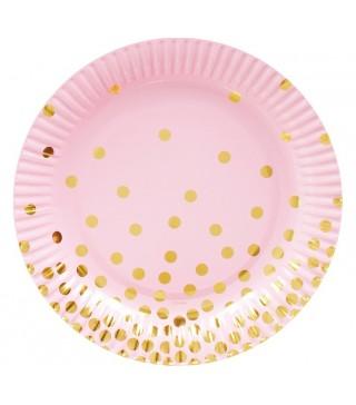 Тарілочки рожеві у золотий горох 6 шт/уп 18 см