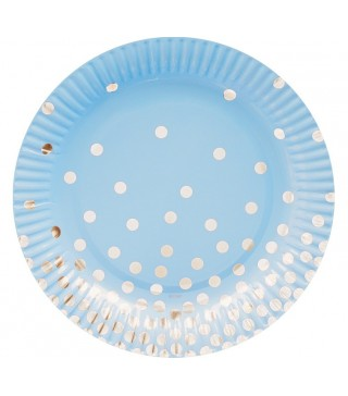 Тарілки блакитні у срібний горох 6 шт/уп
