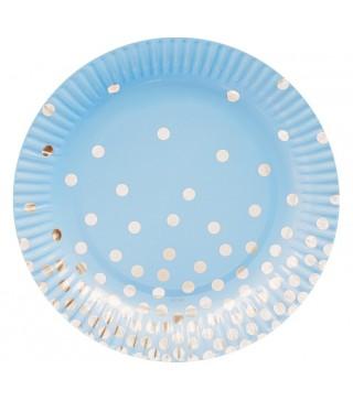 Тарілочки блакитні у срібний горох 6 шт/уп 18 см