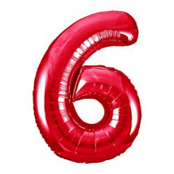 Кульки Цифра 6 червона