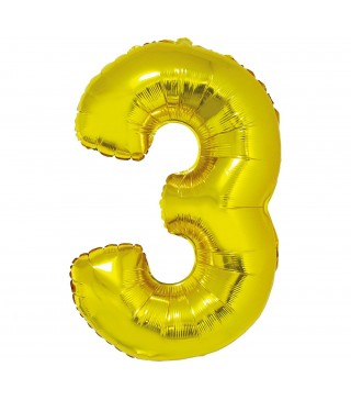 Шарик цифра 3 (85см) золотая