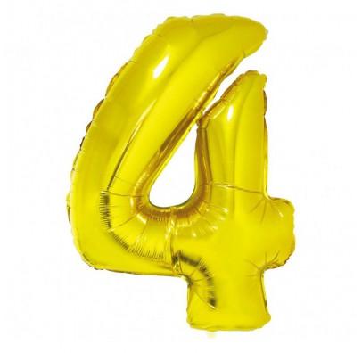 Шарик цифра 4 (85см) золотая