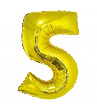 Шарик цифра 5 (85 см) золота