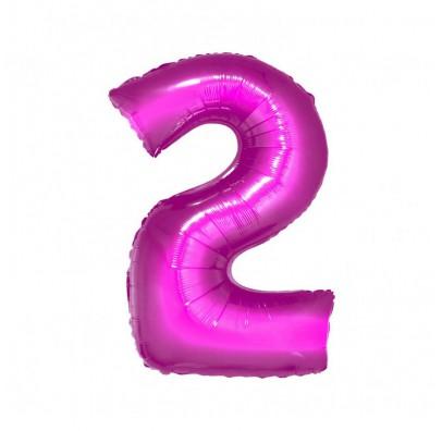 Шарик цифра 2 (85см) pink