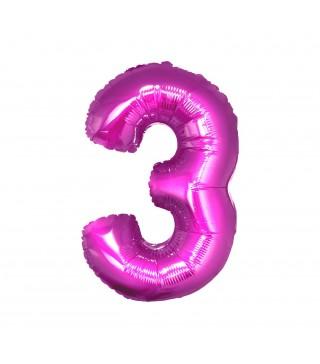 Кулька цифра 3 (85см) рожева