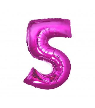 Кулька цифра 5 (85 см) рожева