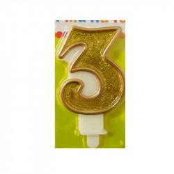 Свічка цифра 3 золотий кант з посипкою