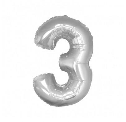 Шарик цифра 3 (85см) серебряная