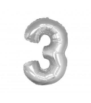Кулька цифра 3 (85см) срібна