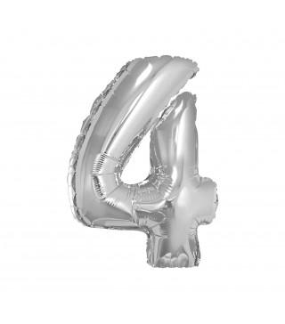 Шарик цифра 4 (85 см) серебряная