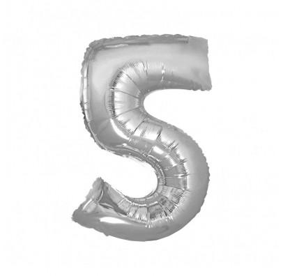 Шарик цифра 5 (85см) серебряная