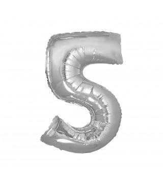 Кулька цифра 5 (85см) срібна
