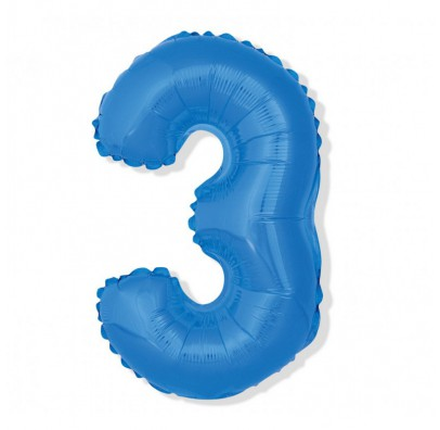 Шарик цифра 3 (85см) blue