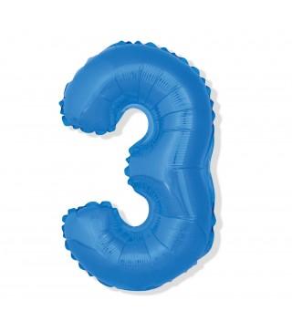 Кулька цифра 3 (85см) блакитна