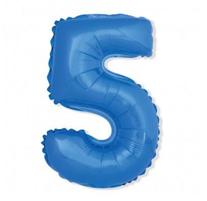 Шарик цифра 5 (85 см) blue