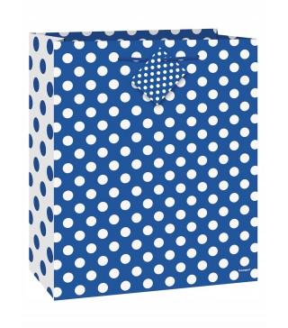 Пакет подарунковий синій в білий горошок