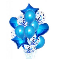 Набір кульок Сині з конфеті 14шт/уп
