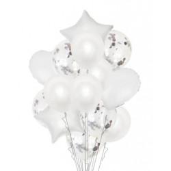 Набір кульок Білі з конфетті 14шт/уп латекс, фольга 18321 Китай