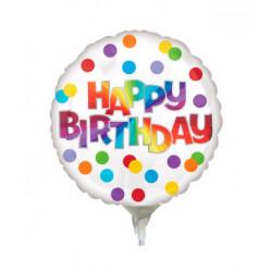 """Кульки міні кругла 4"""" Happy Birthday конфетті 41324 Anagram"""