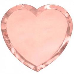 Тарілки Серце рожеве золото 6шт/уп