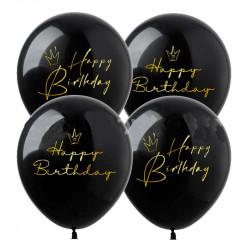 Повітряні кульки Happy Birthday чорні 1шт