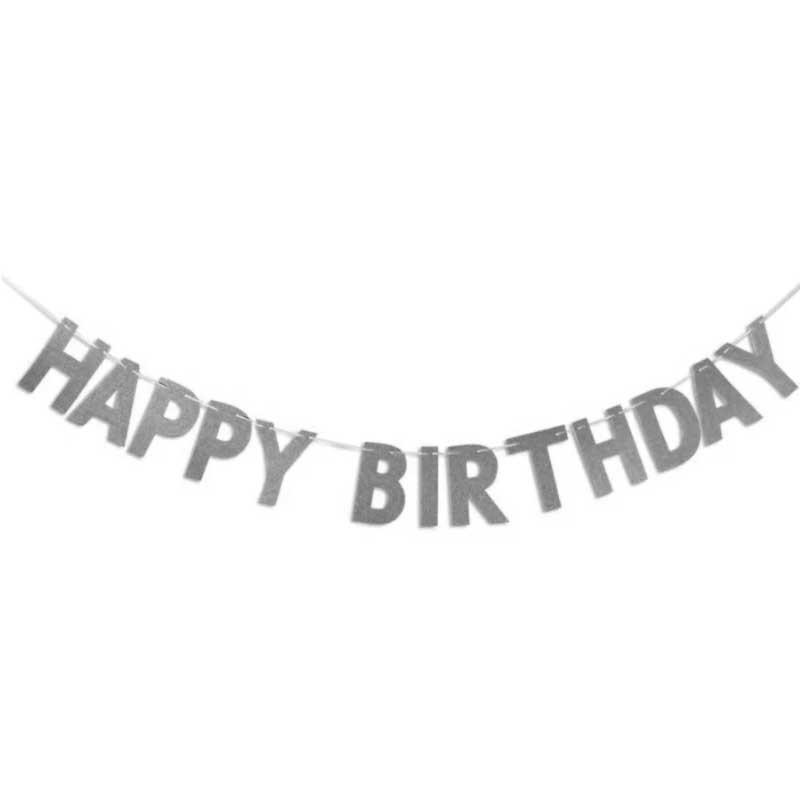 Гірлянда Happy birthday срібна