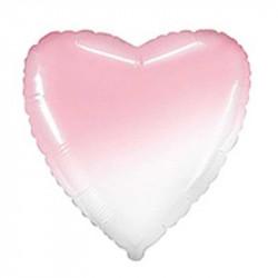 Повітряна кулька фольгована серце Омбре рожево-біла