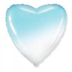 Повітряна кулька фольгована серце омбре голубо-біла