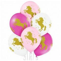 """Кульки 14""""з малюнком  в уп Єдиноріг  золото(1,75  25шт/уп 25145 PartyDECO"""