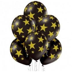 """Кульки 14""""з малюнком  в уп Чорні в золоті зірочки(1,75г 25шт/уп 22036 PartyDECO"""