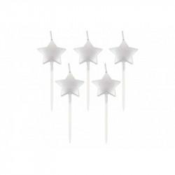 Свічка в торт зірочки срібні 5шт/уп
