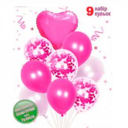 Набір кульок Фуксія Серце з конфеті