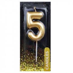 """Свічка цифра """"5"""" Золото"""