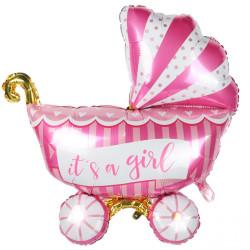 Воздушный шарик Коляска розовая 90*66см